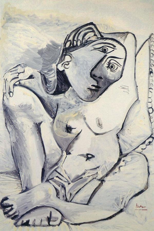 Картина Пабло Пикассо. Женщина на подушке (Жаклин). 1969
