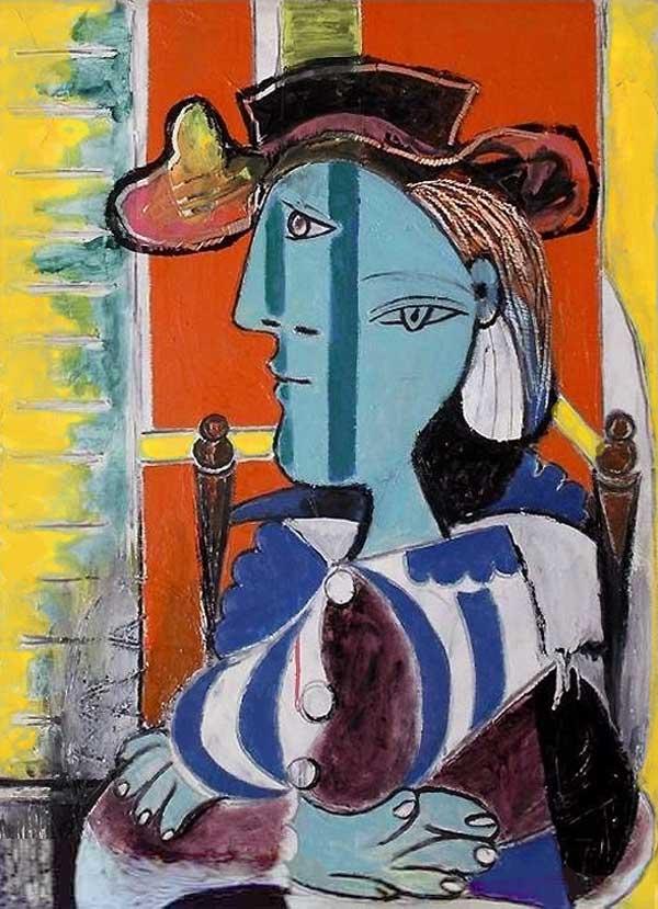 Картина Пабло Пикассо. Женщина, сидящая со скрещенными руками. 1937