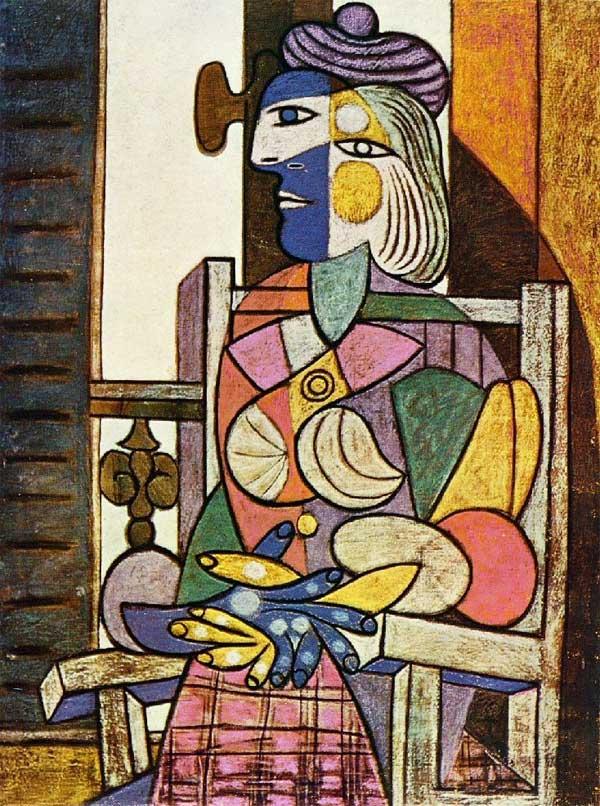 Картина Пабло Пикассо. Женщина, сидящая у окна. 1937