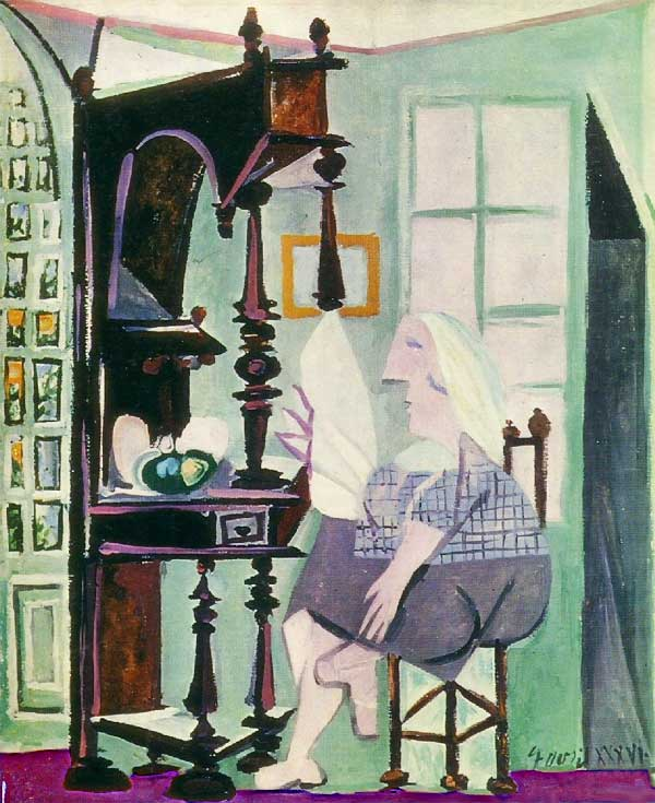 Картина Пабло Пикассо. Женщина у буфета. 1936
