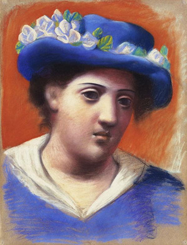 Картина Пабло Пикассо. Женщина в голубой шляпе с цветами. 1921