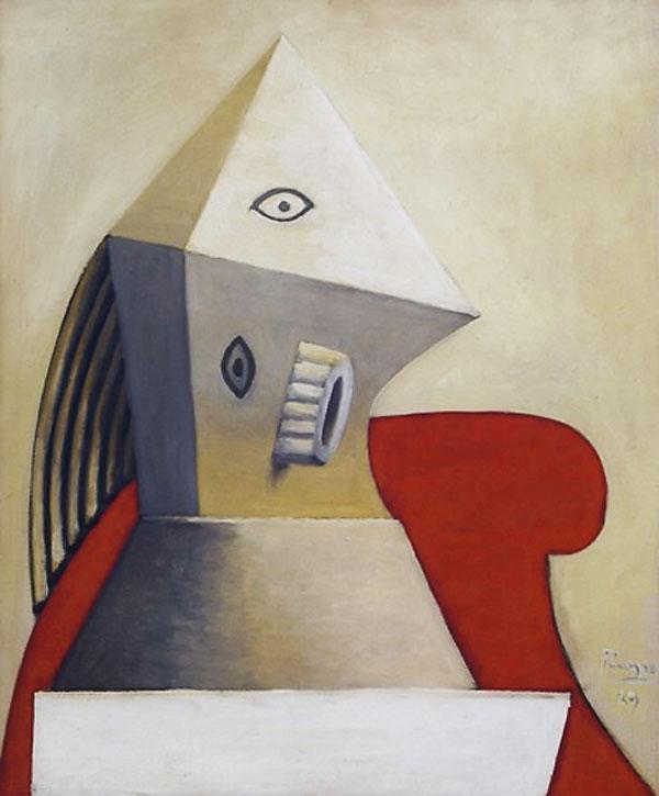 Картина Пабло Пикассо. Женщина в красном кресле 2. 1929