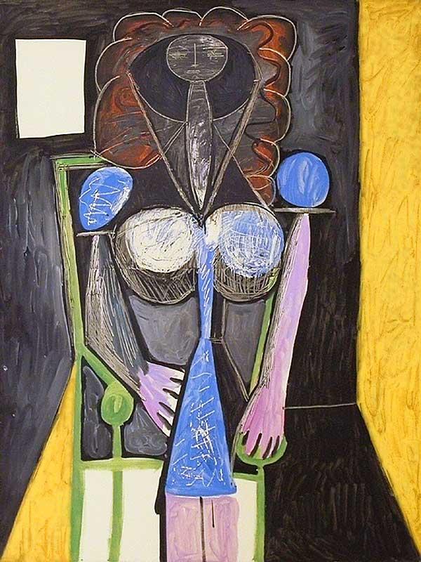 Картина Пабло Пикассо. Женщина в кресле (Франсуаза). 1946
