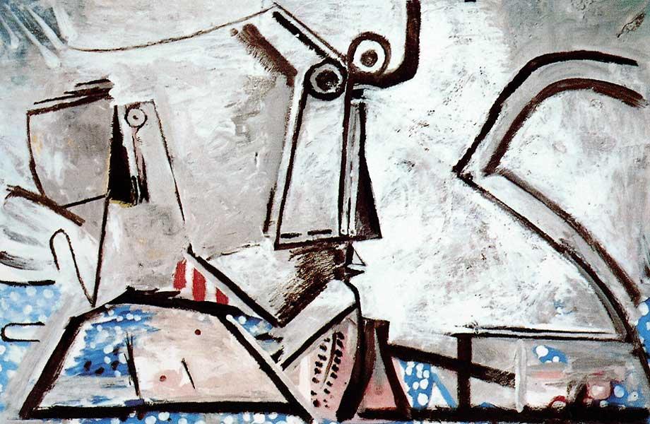 Картина Последняя картина Пабло Пикассо. Лежащая обнаженная и голова. 1973
