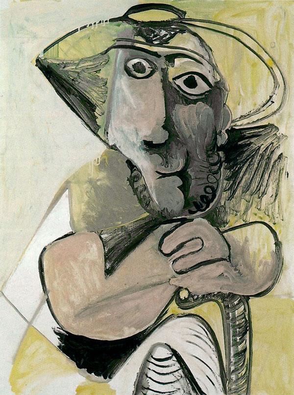 Картина Пабло Пикассо. Сидящий человек с тростью. 1971