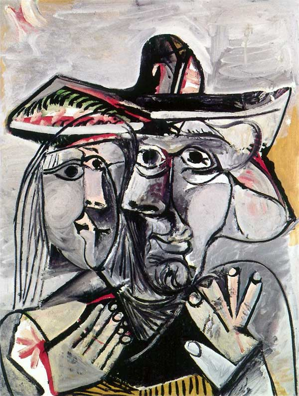 Картина Пабло Пикассо. Мужчина и женщина. 1971