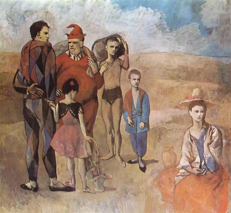 Картина Пабло Пикассо. Семья комедиантов. 1905
