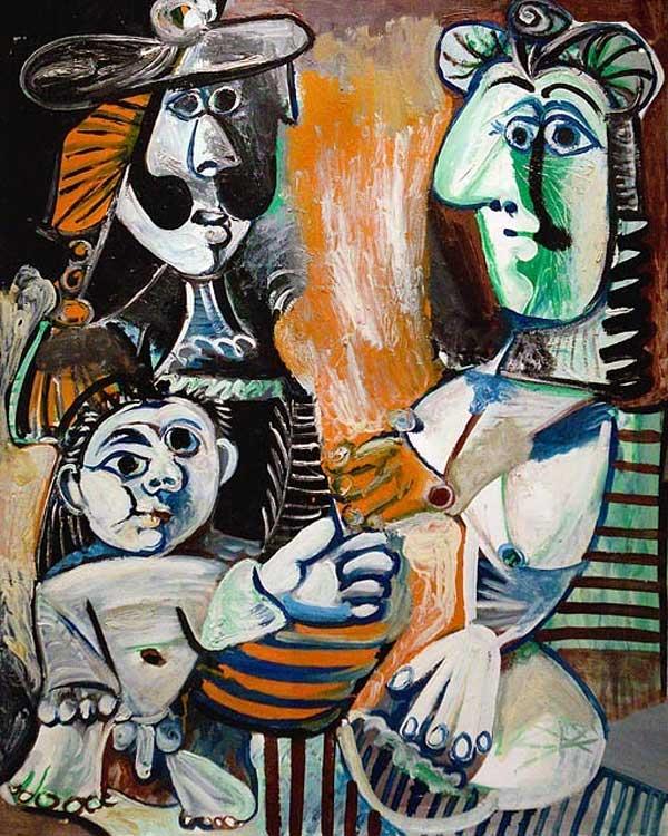 Картина Пабло Пикассо. Семья (Мужчина, женщина и ребенок). 1970