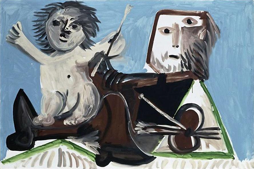 Картина Пабло Пикассо. Художник и дитя. 1969