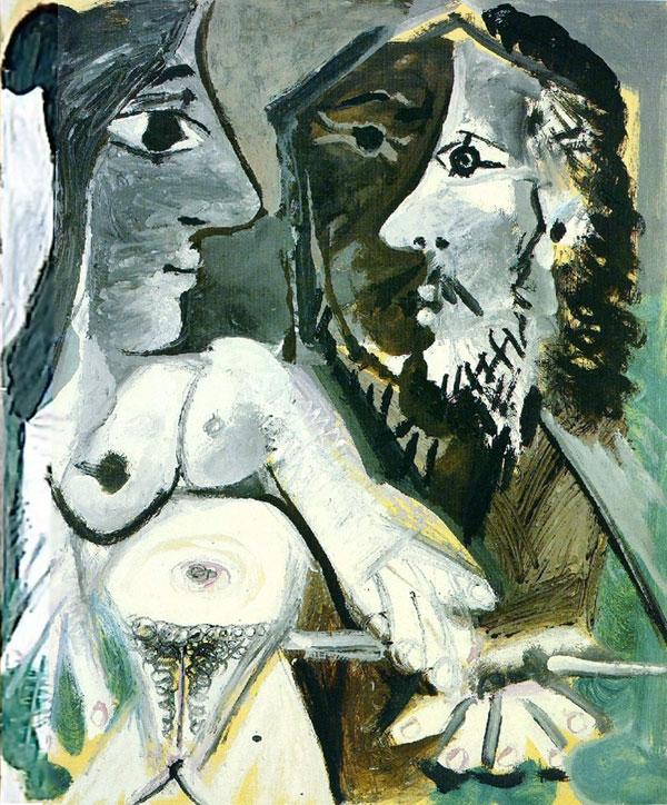 Картина Пабло Пикассо. Художник и модель. 1967