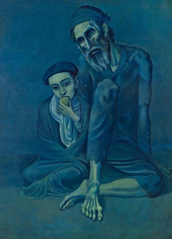 Картина Пабло Пикассо. Старый еврей с мальчиком. 1903