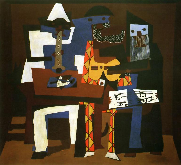 Картина Пабло Пикассо. Три музыканта (с собакой). 1921