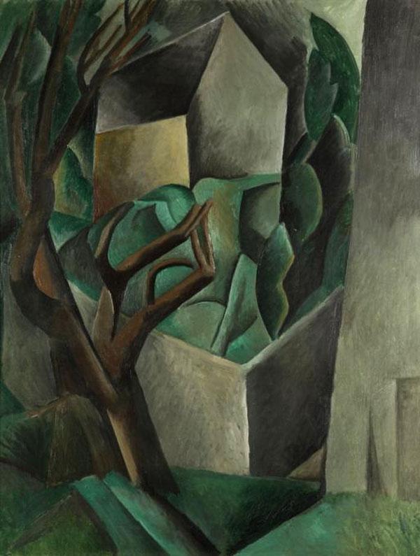 Картина Пабло Пикассо. Домик в саду (Домик и деревья). 1909