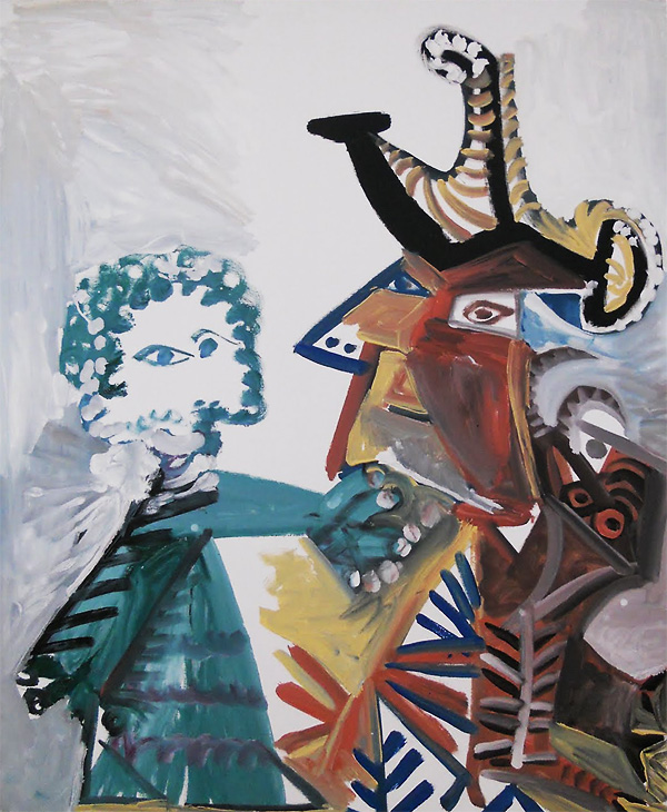 Картина Пабло Пикассо. Мушкетер и дитя. 1972