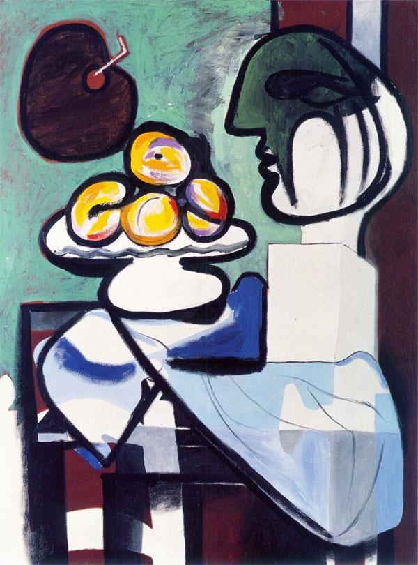 Картина Пабло Пикассо. Натюрморт — бюст, чаша и палитра. 1932