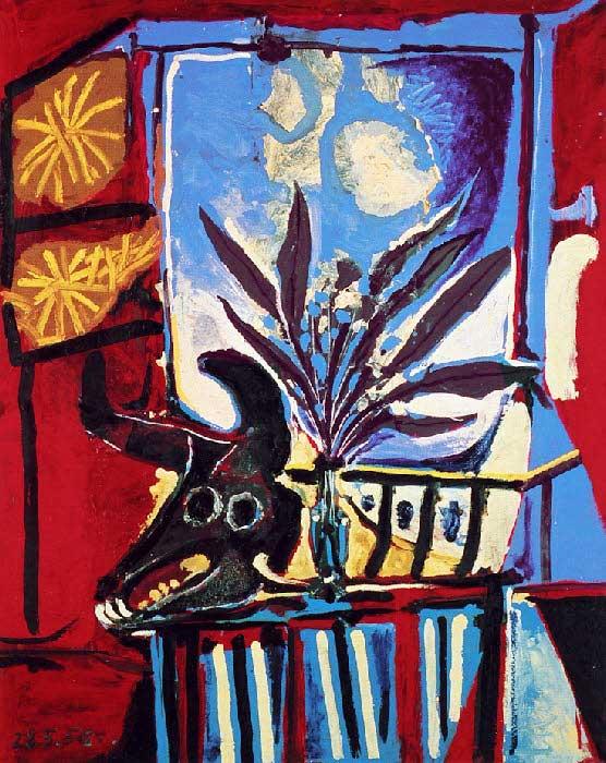 Картина Пабло Пикассо. Натюрморт с головой быка. 1958
