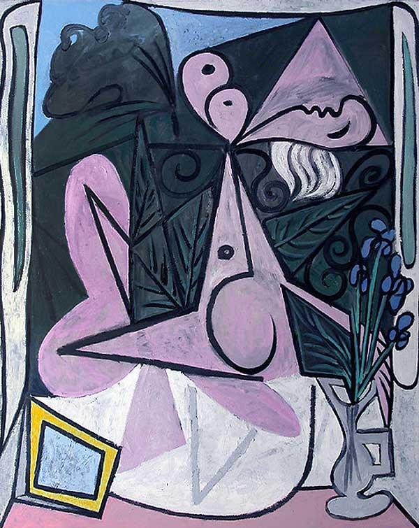 Картина Пабло Пикассо. Обнаженная с букетом ирисов и зеркалом. 1934