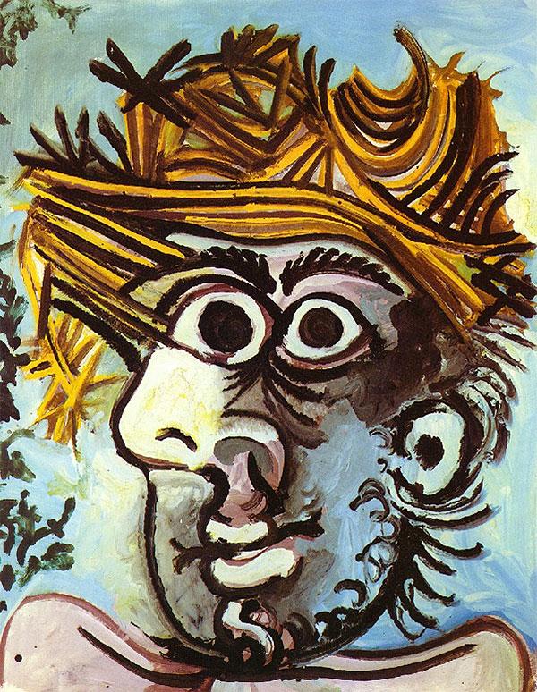 Картина Пабло Пикассо. Портрет мужчины в соломенной шляпе. 1971