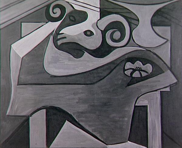 Картина Пабло Пикассо. Голова барана на столе. 1925