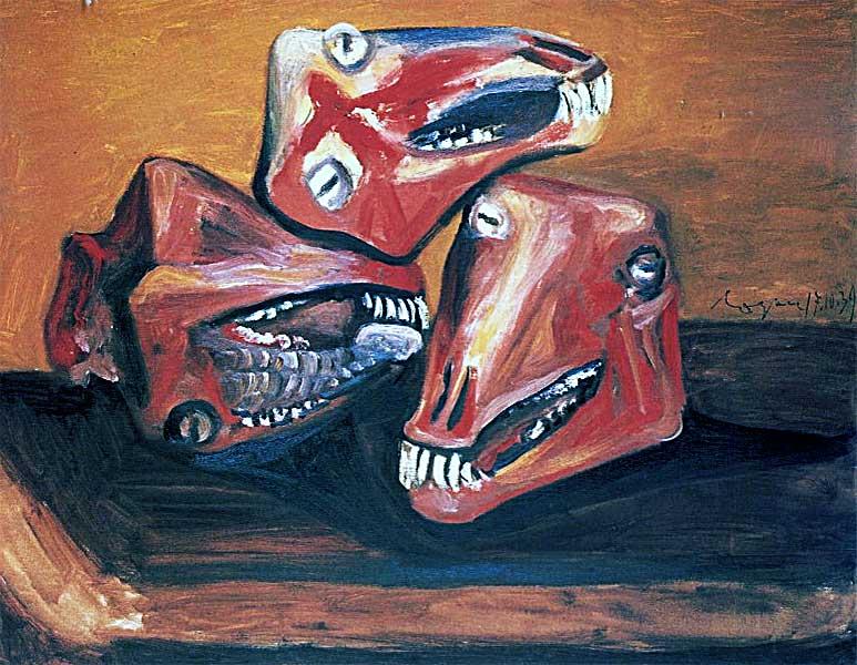 Картина Пабло Пикассо. Три бараньих головы. 1939