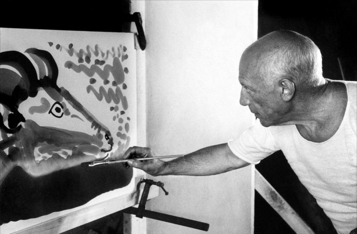 """Кадр из фильма Клузо """"Мистерия Пикассо"""""""