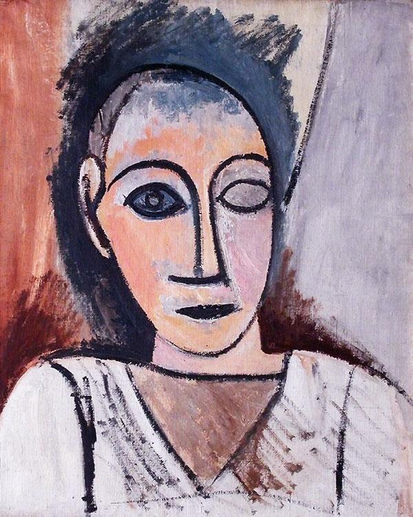Картина Пабло Пикассо. Бюст человека (Этюд к Авиньонским девицам). 1907