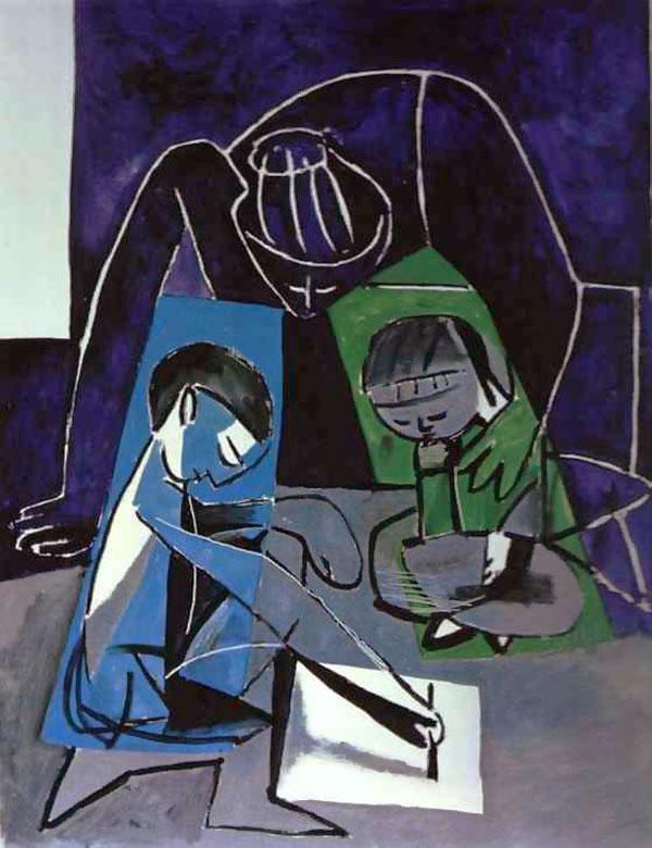 Картина Пабло Пикассо. Франсуаза, Клод и Палома. 1954