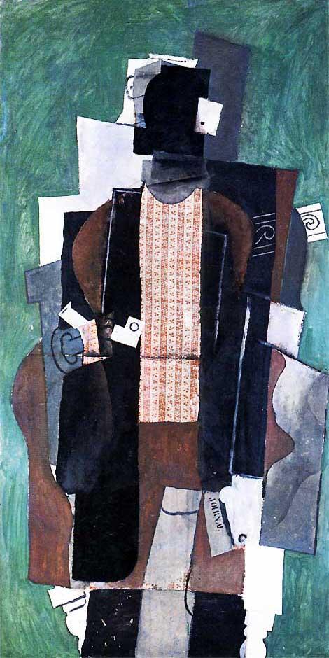 Картина Пабло Пикассо. Человек с трубкой. 1914