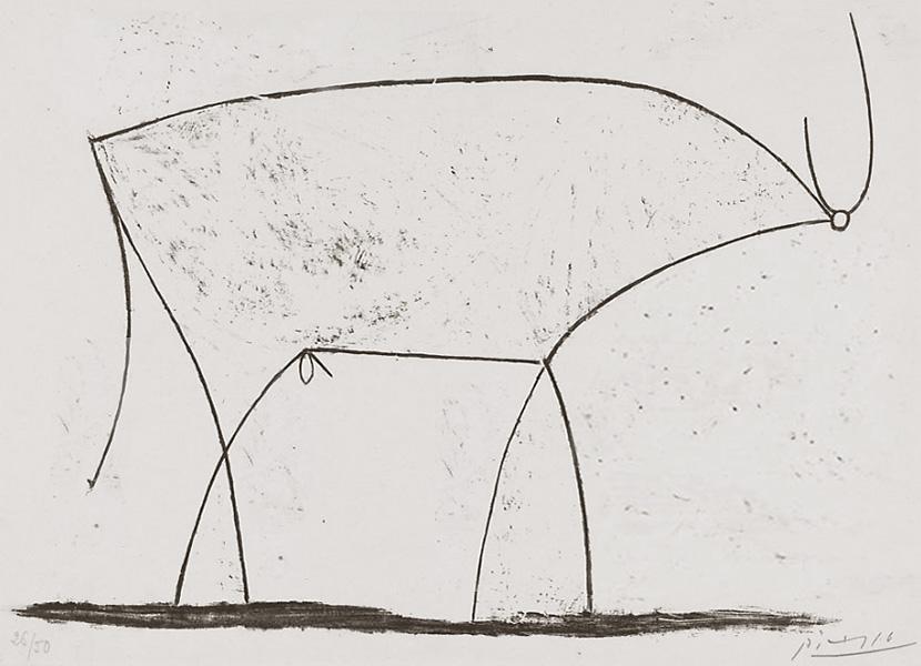 Картина Пабло Пикассо. Бык. Стадия 11. 1946, 17 января