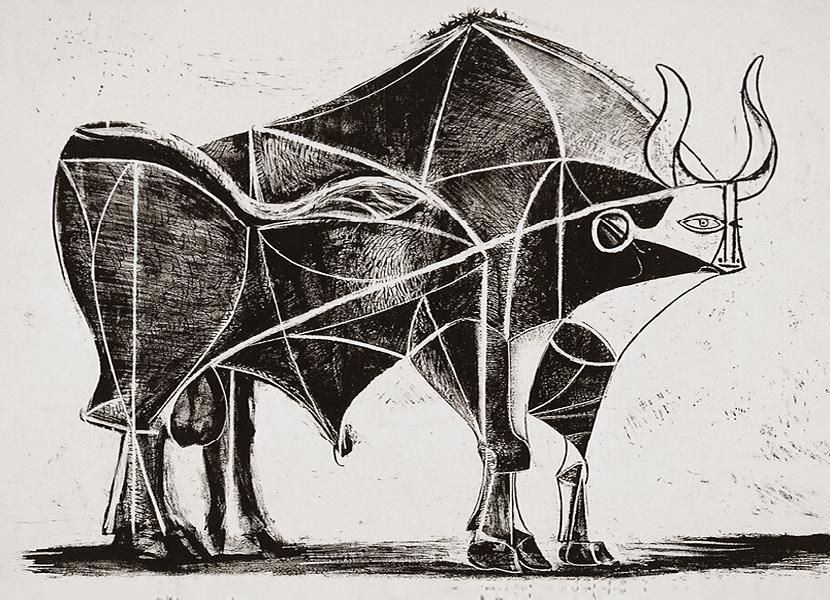 Картина Пабло Пикассо. Бык. Стадия 5. 1945, 24 декабря