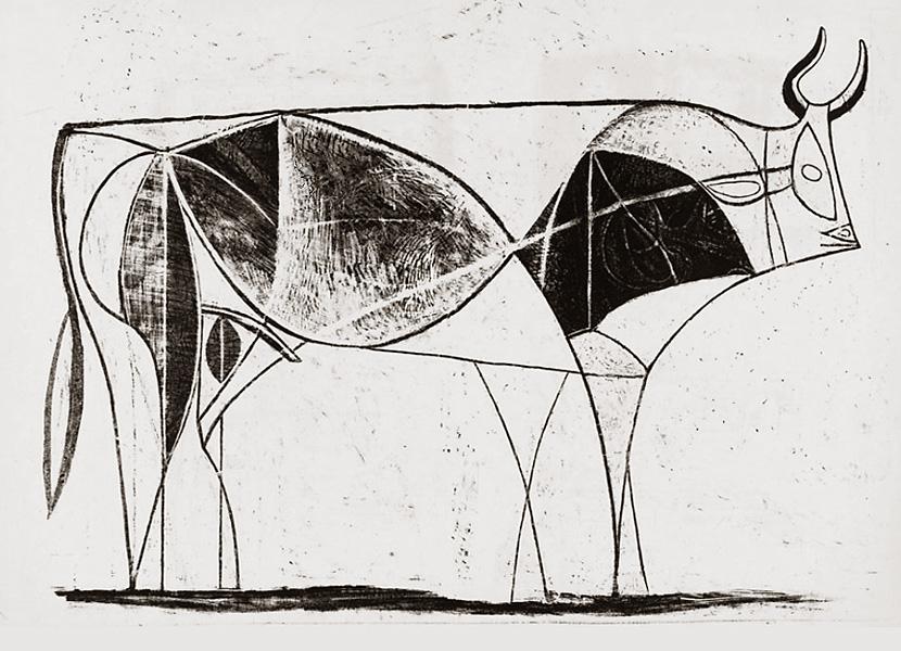 Картина Пабло Пикассо. Бык. Стадия 8. 1946, 2 января