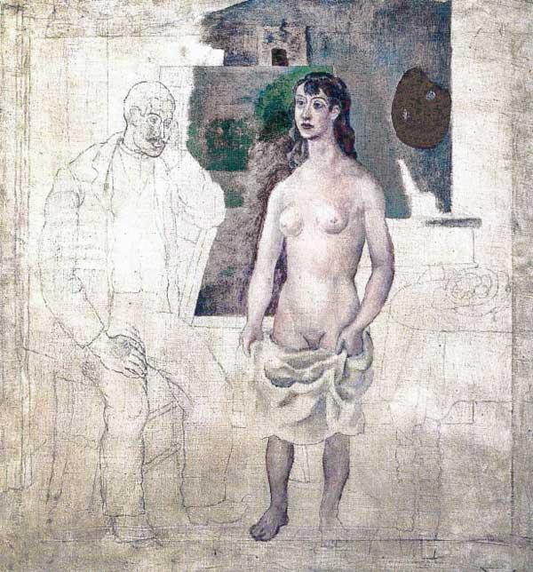 Картина Пабло Пикассо. Художник и модель. 1914