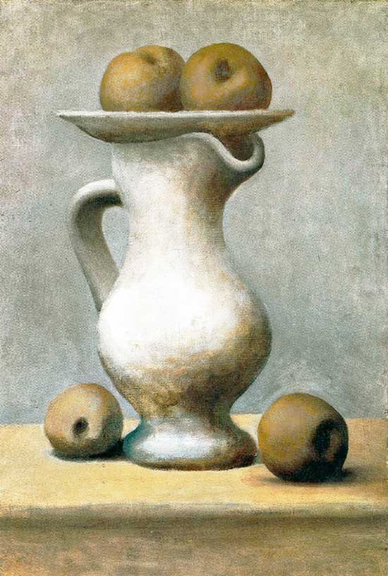 Картина Пабло Пикассо. Натюрморт с кувшином и яблоками. 1919
