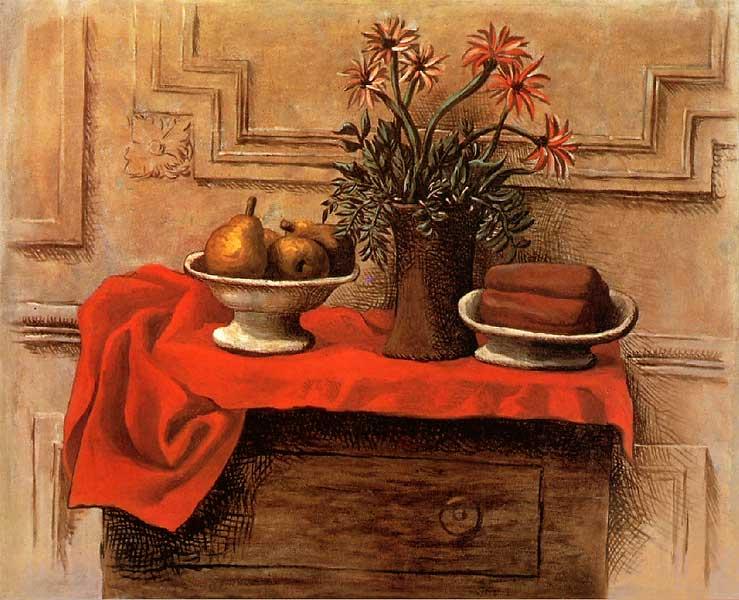 Картина Пабло Пикассо. Натюрморт на комоде. 1919