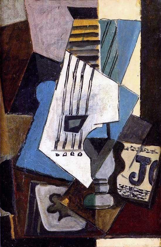 Картина Пабло Пикассо. Натюрморт: гитара, газеты, бокал и туз треф. 1914