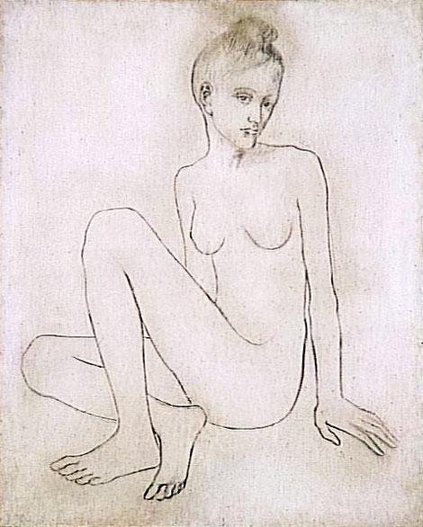 Картина Пабло Пикассо. Обнаженная со скрещенными ногами. 1905