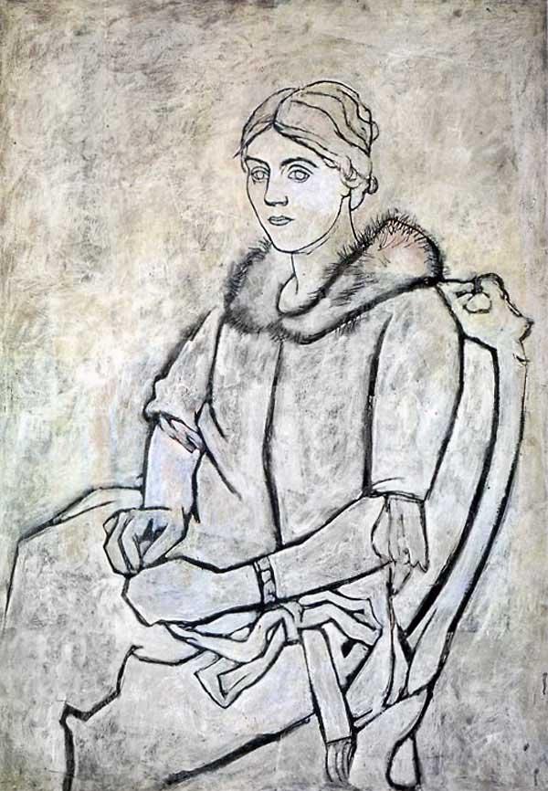 Картина Пабло Пикассо. Ольга в меховом воротнике. 1923