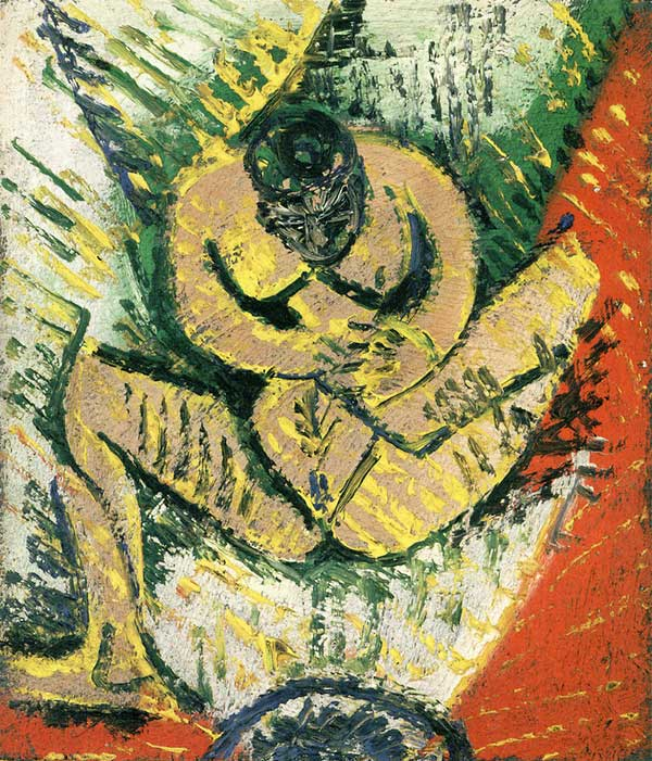 Картина Пабло Пикассо. Маленькая сидящая обнаженная. 1907