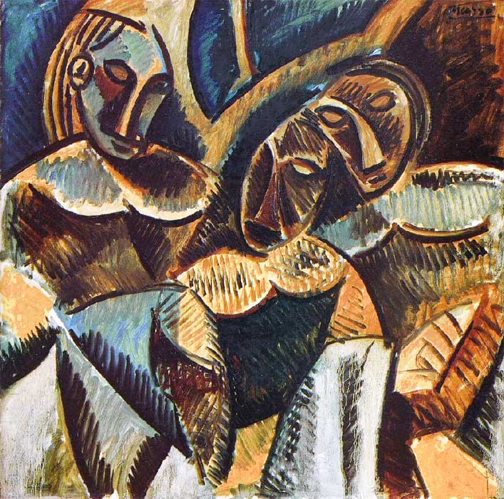 Картина Пабло Пикассо. Три фигуры под деревом. 1907
