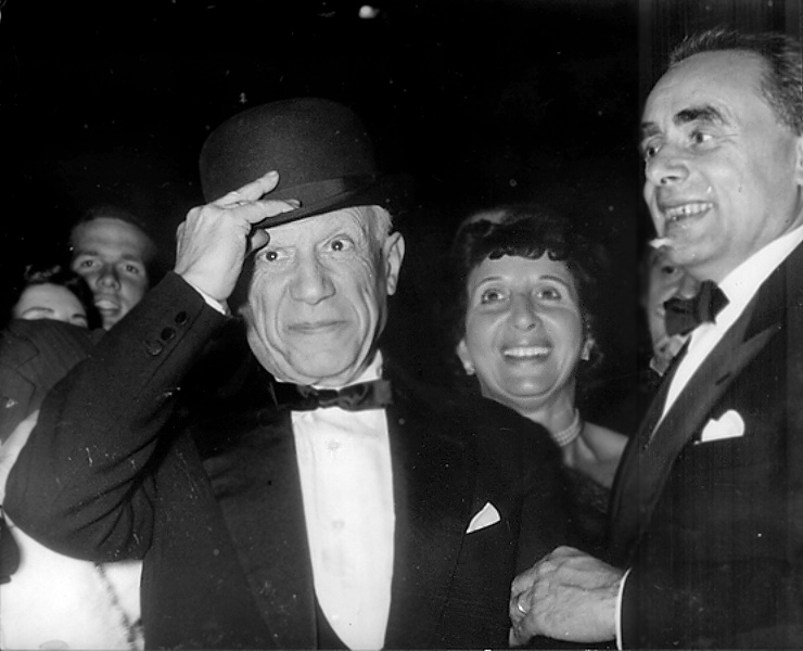 Picasso and HG Clouzot at the presentation of the movie Le Mystere Picasso, Cannes, 1956
