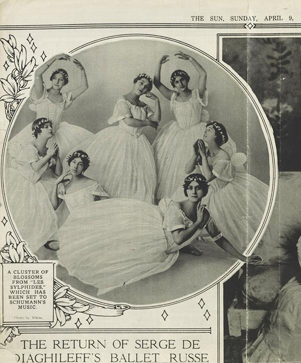 Ольга Хохлова в балете Сильфиды, Нью-Йорк. Фото из журнала The Sun, 1916