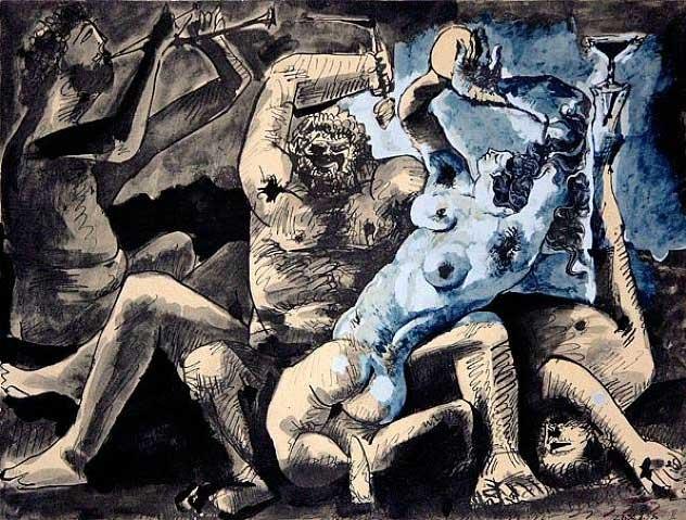 Картина Пабло Пикассо. Вакханалия. 1955