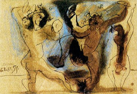 Картина Пабло Пикассо. Вакханалия. 1959