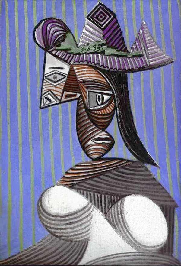 Картина Пабло Пикассо. Женщина в разорванной шляпе. 1939