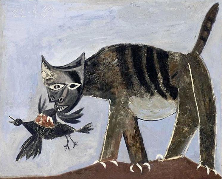Картина Пабло Пикассо. Кошка, схватившая птицу. 1939