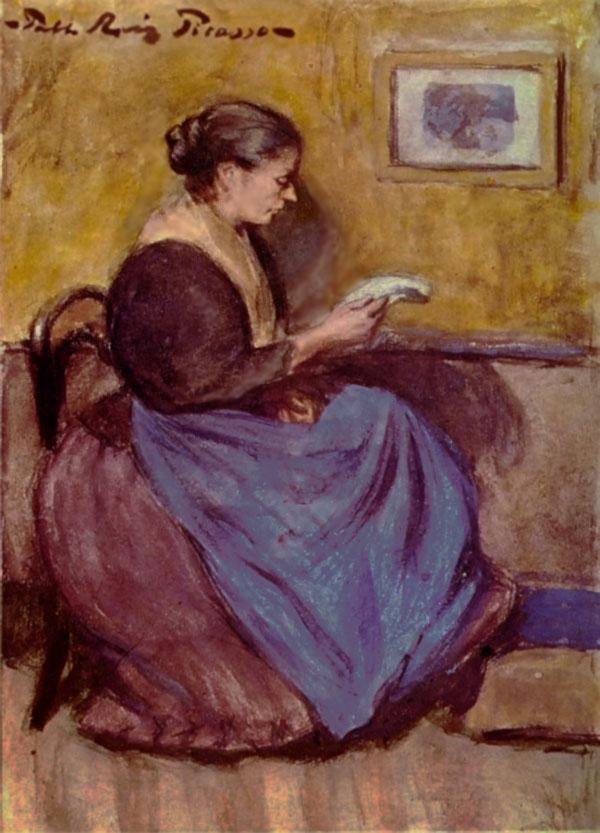 Картина Пабло Пикассо. Женщина, сидящая за чтением. 1899