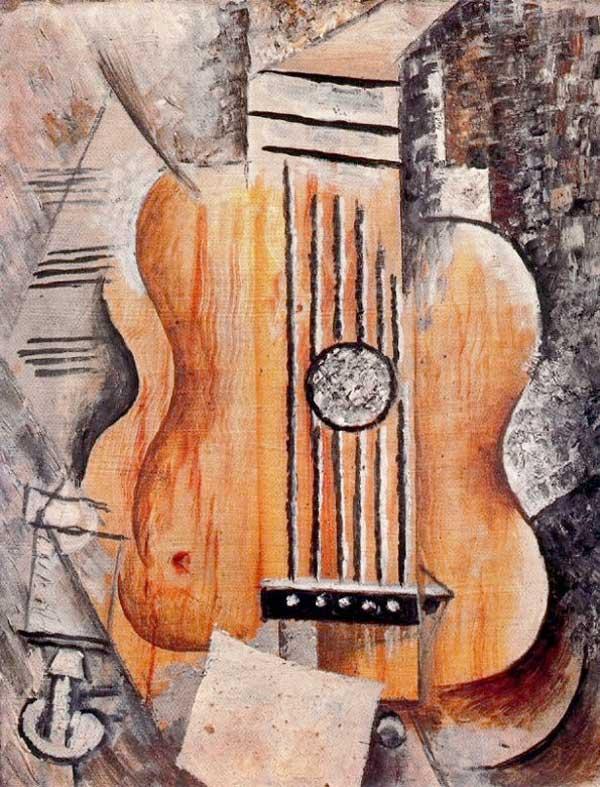 Картина Пабло Пикассо. Гитара (Я люблю Еву). 1912
