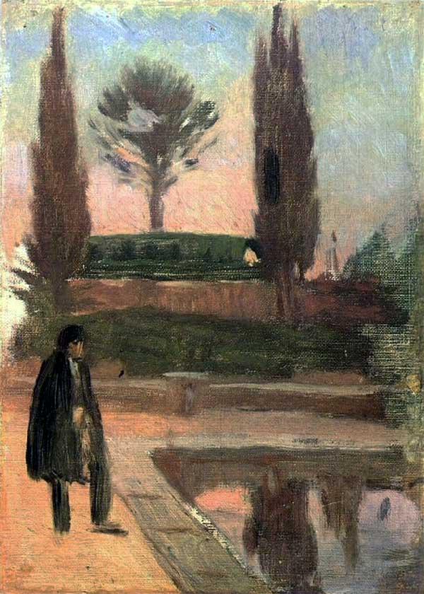 Картина Пабло Пикассо. Человек на берегу пруда. 1897