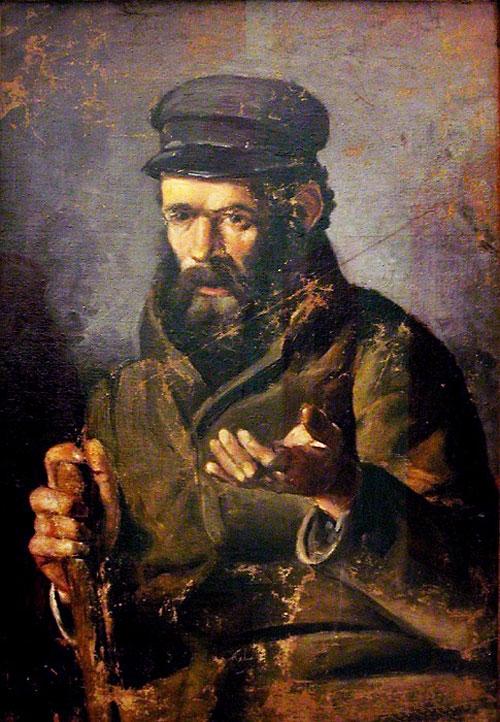 Картина Пабло Пикассо. Человек в шапке. 1895