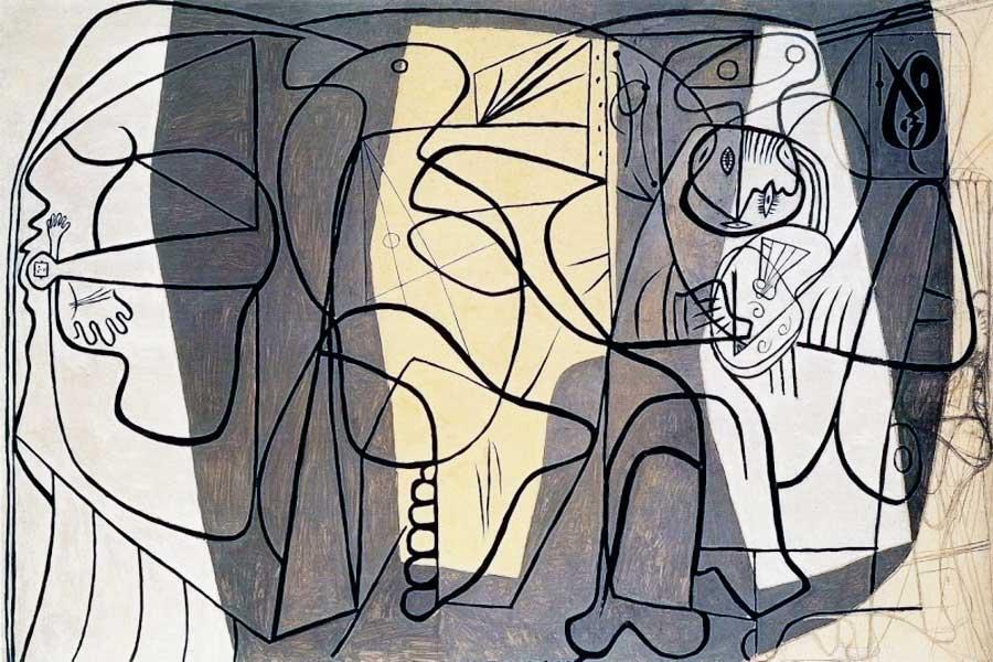 Картина Пабло Пикассо. Художник и его модель. 1926